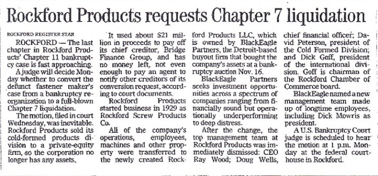 Rockford Products requests