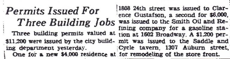 Saddle 1940 bldg permit