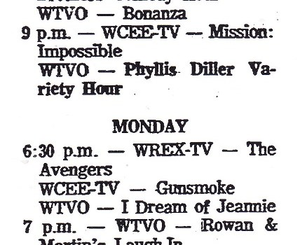 Fall Season on TV, 1968              on WREX, WTVO and WCEE-TV