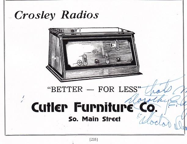 Cutler Furniture Store   1927 Ad