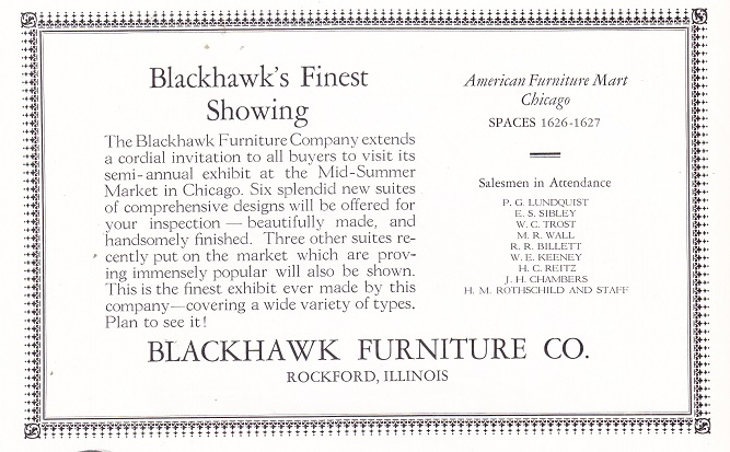 Blackhawk Furniture Co., Ad U2013 June 1926