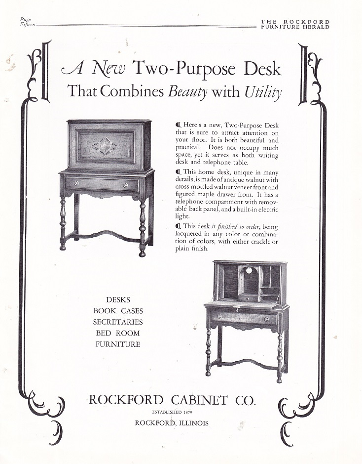 Rockford Cabinet Co., Ad U2013 August 1926