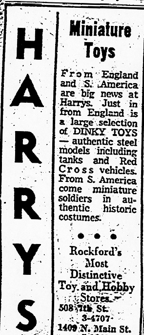 Harry's Toys and Hobbies, ad – 1957, Dinky Toys – RPL's Local History