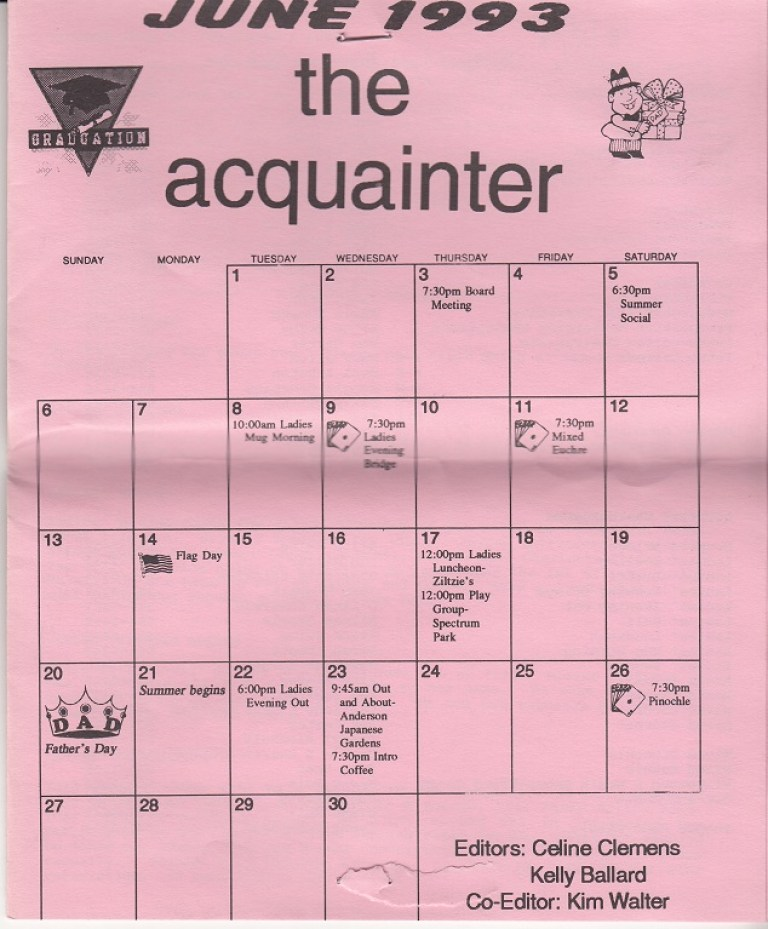 Rockford Civic Newcomers Club June 1993 The Acquainter Rpl S