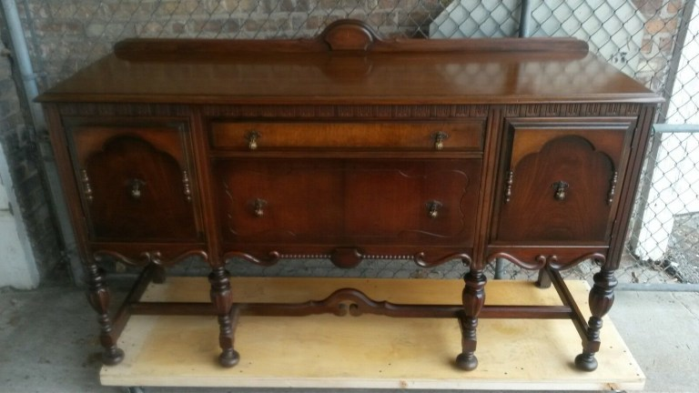 Antique Wood Buffet Sideboard Credenza Cabinet – Excel Manufacturing Co.,  Rockford - Antique Wood Buffet Sideboard Credenza Cabinet – Excel Manufacturing
