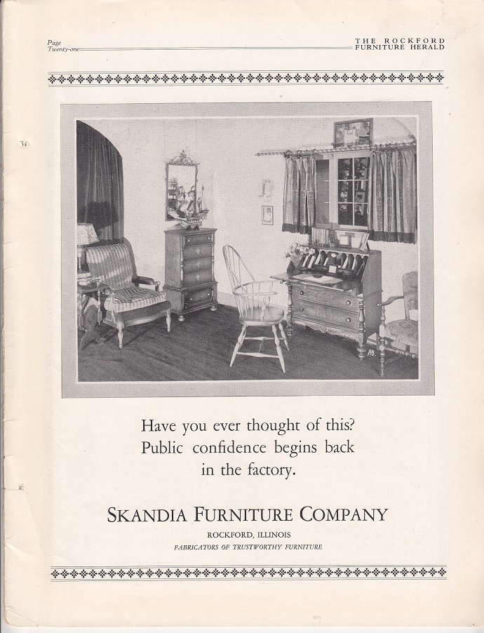 Superbe Skandia Furniture Company, Ad U2013 October 1927