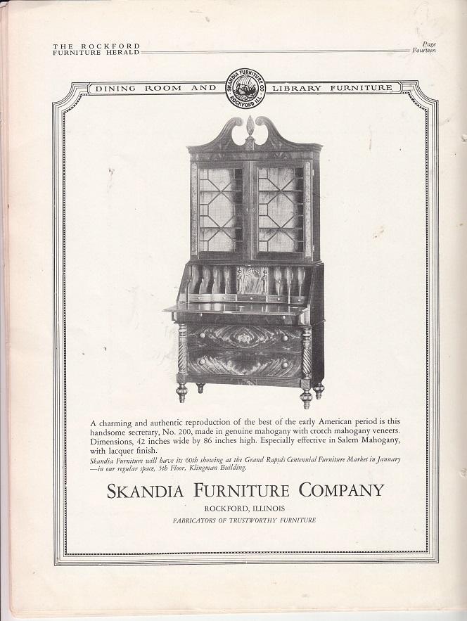 Skandia Furniture Co., Ad, No. 200 U2013 December 1927