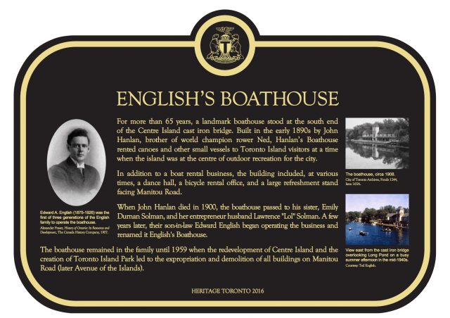 English's Boathouse, Centre Island, Heritage Toronto Unveiling of Historic Plaque