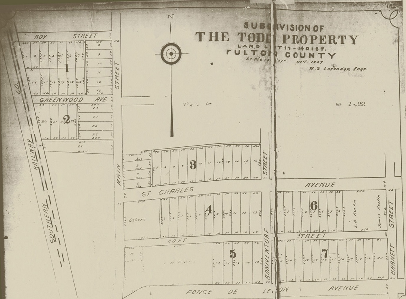 hight resolution of the todd property subdivision development map from april 1907 virginia highland civic association