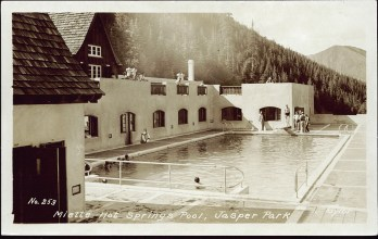 Miette Hot Springs pool Jasper Park. Photographed and Copyrighted by G. Morris Taylor, Jasper National Park, Canada, circa 1940. peel.library.ualberta.ca/postcards/PC007973.html
