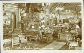 The rotunda, Jasper Park Lodge. Photographed and Copyrighted by G. Morris Taylor, Jasper National Park, Canada, circa 1940. peel.library.ualberta.ca/postcards/PC008080.html