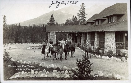 Ready for the trail, Jasper Park Lodge. Photographed and Copyrighted by F.H. Slark, Jasper Alberta, c1925.peel.library.ualberta.ca/postcards/PC008092.html