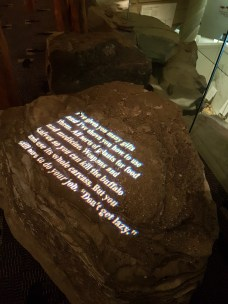 Various Blackfoot stories were projected onto rocks throughout the more traditional museum displays.