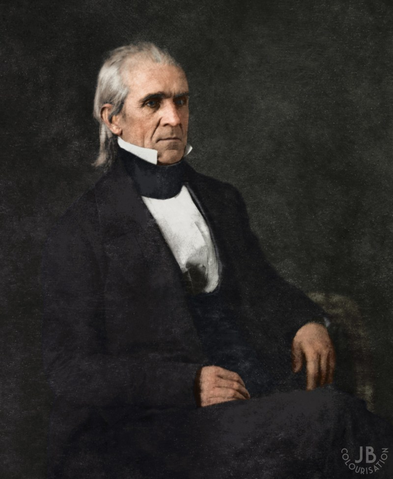 Color photograph of President James K. Polk sitting on a chair.