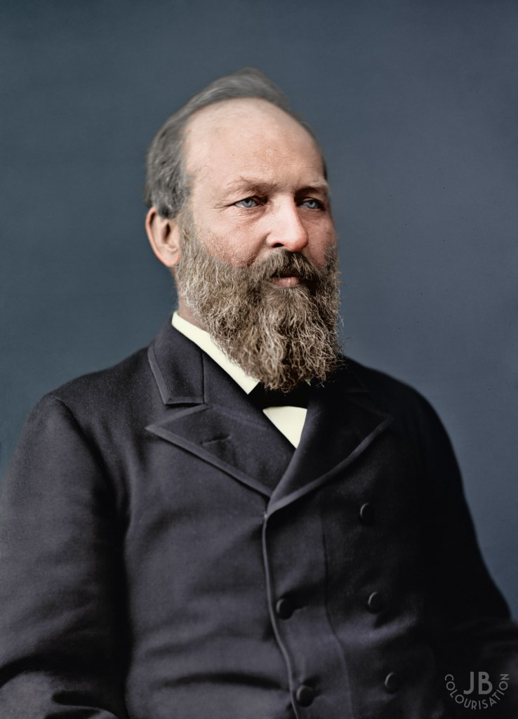 Sligtly angled portrait of President James A Garfield in color.