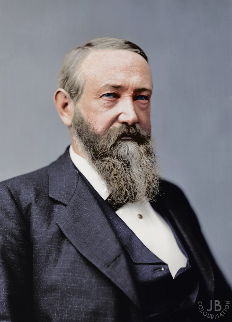 President Benjamin Harrison portrait that has been colorized.