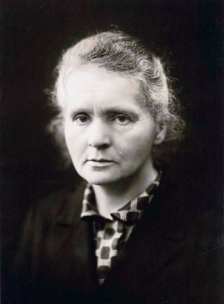 A portrait photograph of Marie Curie in c. 1920