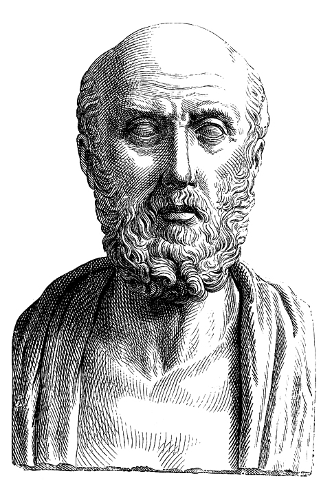 Drawing of Hippocrates, a physician from Ancient Greece.