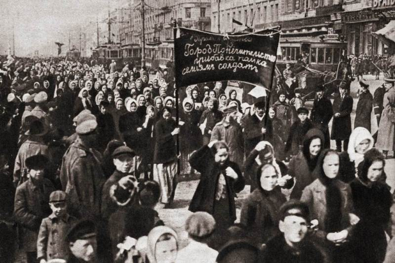 Women marching in petrograd, russia which in part sparked the beginning of the Russian Revolution. 1917