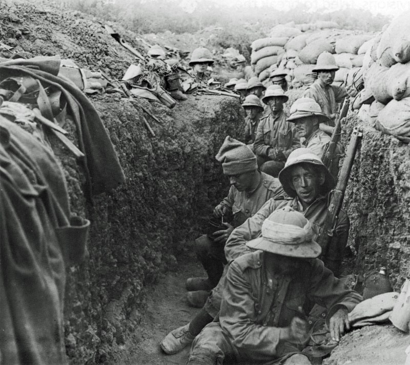 a group of soldiers sitting in a trench in a trench during World War I
