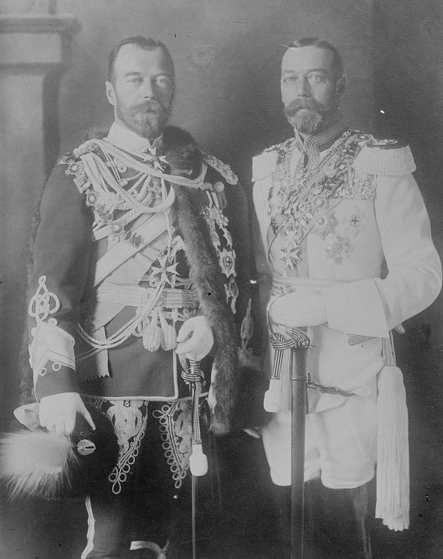 Nicholas II of Russia photographed alongside similar looking and cousin King George V of the United Kingdom, while wearing military uniform.