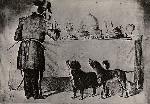 cartoon called The Three Bummers showing famous stray dogs Bummer and Lazarus begging for scraps from Emperor Norton, c. 1860s.