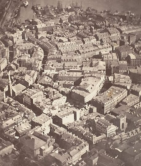 Photograph of Boston from the air in 1860.