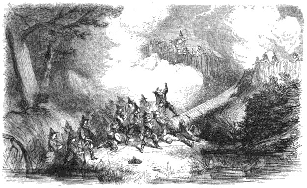 Pilgrims / colonists storming King Phillip's fort during the Great Swamp Fight of King Phillip's War. This war was a key part of the history of thanksgiving.