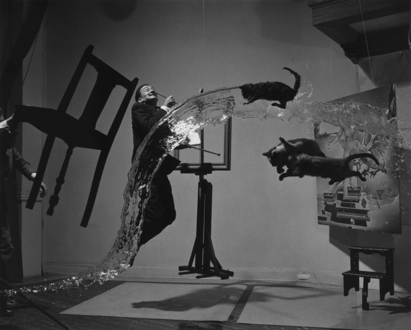 Salvador Dali suspended in mid air along with other objects within the iconic photograph Dali Atomicus taken in 1948