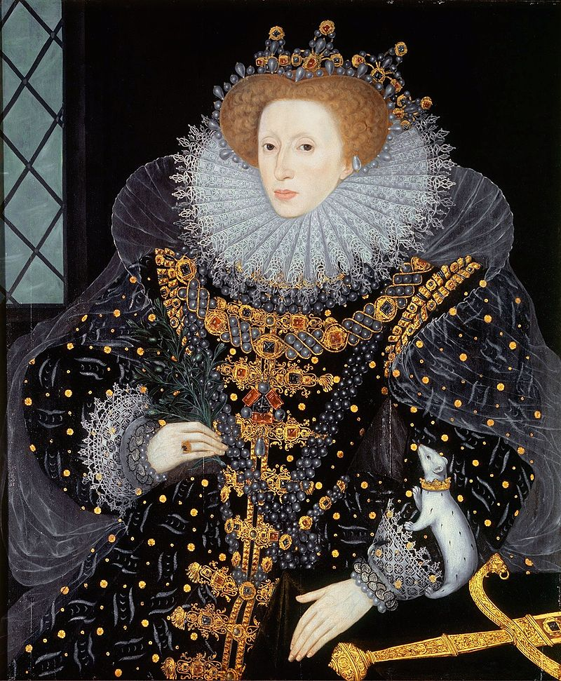 Painting of the Queen known as the Ermine Portrait, shows her wearing a decorated black dress covered in jewels. Painting attributed to William Segar in circa 1585.