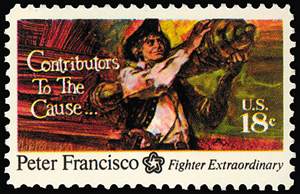United States Postal Service Stamp showing peter francisco carrying a cannon.
