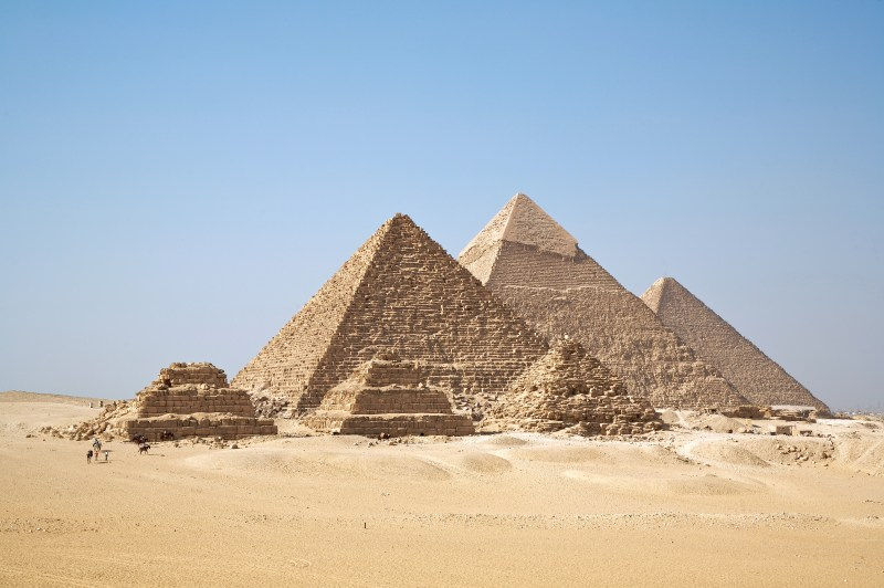 The three main pyramids of the Giza pyramid complex along with smaller pyramids in Egypt