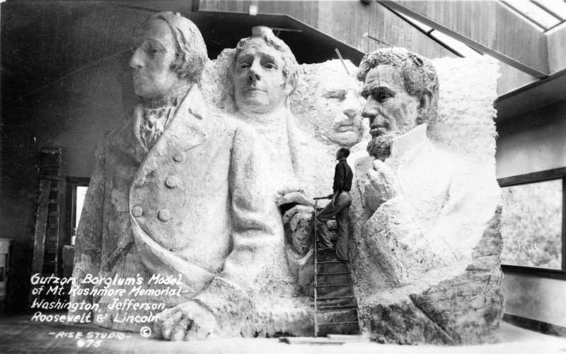 1936 photograph of Gutzon Borglum's model for the Mount Rushmore National Memorial. This also shows their bodies