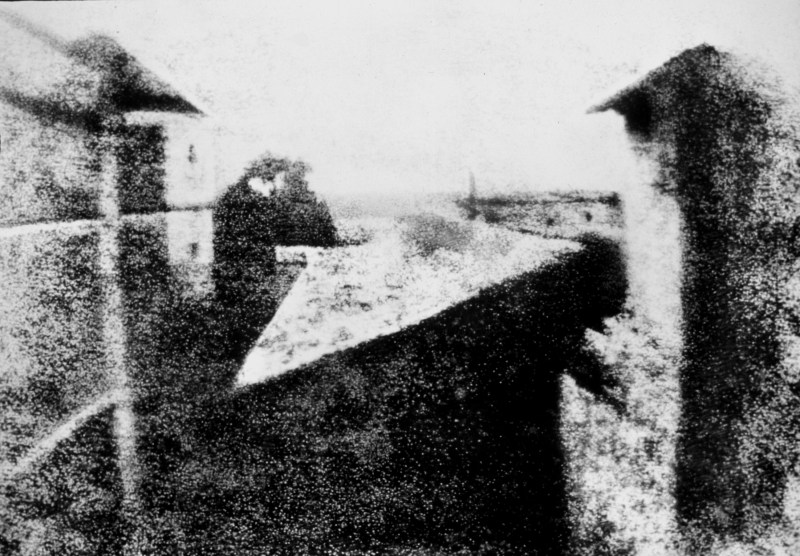 The first photograph in history, the view from a window at Le Gras in 1826 or 1827.