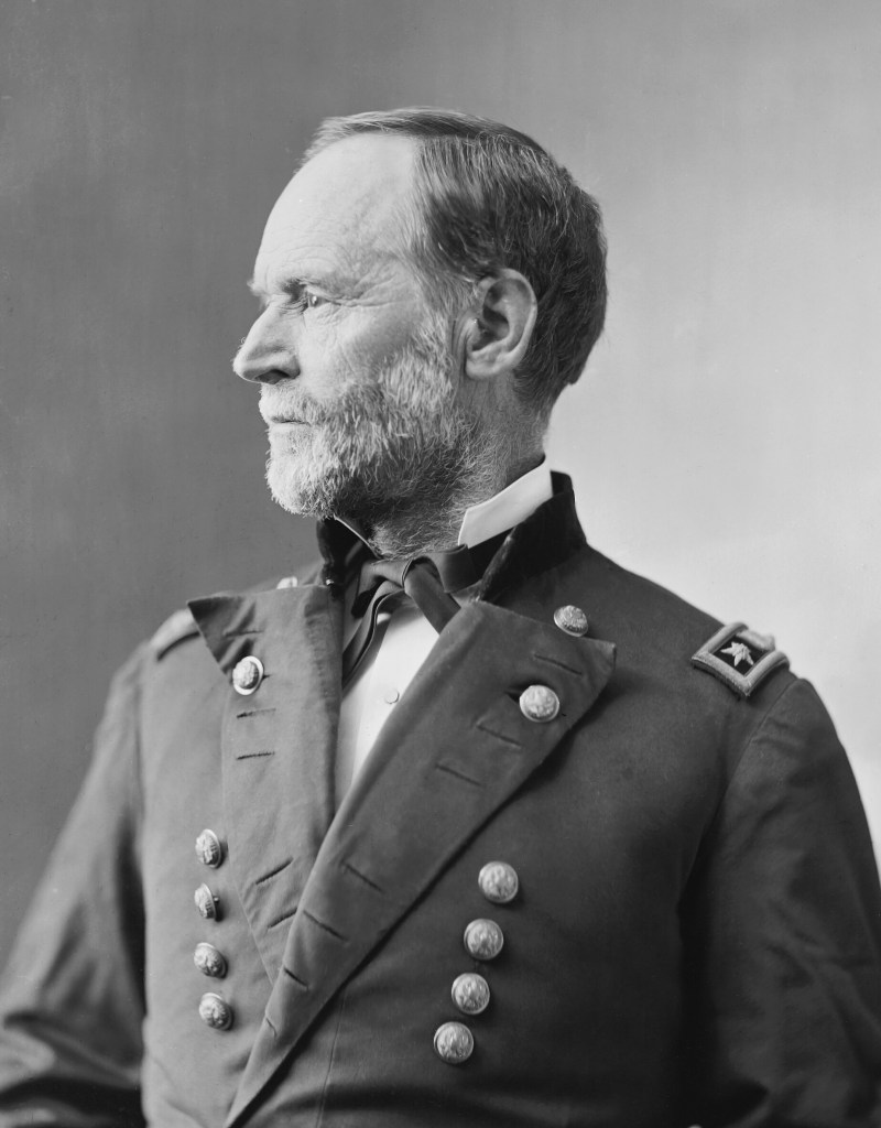 Side profile photograph of General William Tecumseh Sherman in his Union Army military uniform in c. 1865