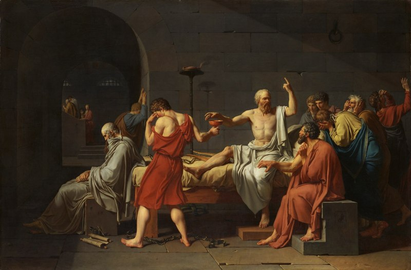 Famous scene from Ancient Greece showing The Death of Socrates by Jacques-Louis David painted in 1787.