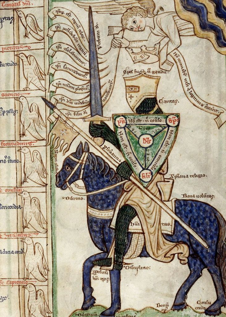 Painting of a medieval knight with a sword and shield on a horse.