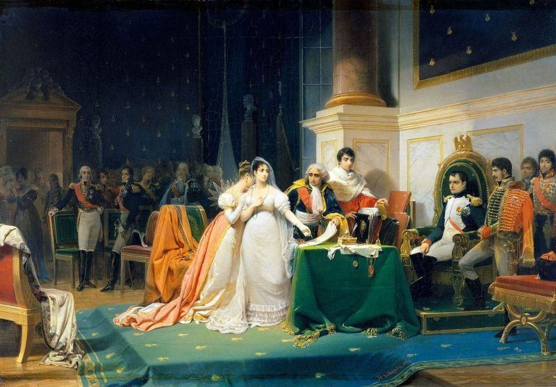 Josephine getting a divorce from Napoleon in 1809.