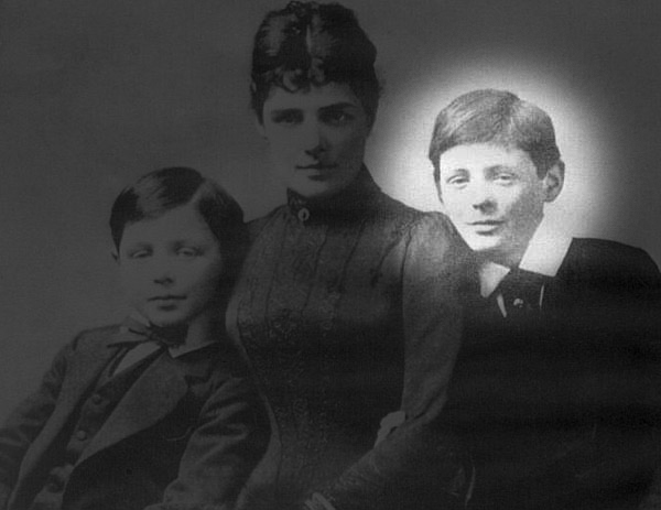 Jennie Churchill with her sons John & Winston in 1889