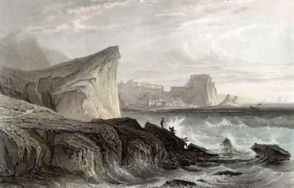An 1840 steel engraving of the Strait of Messina by A. H. Payne