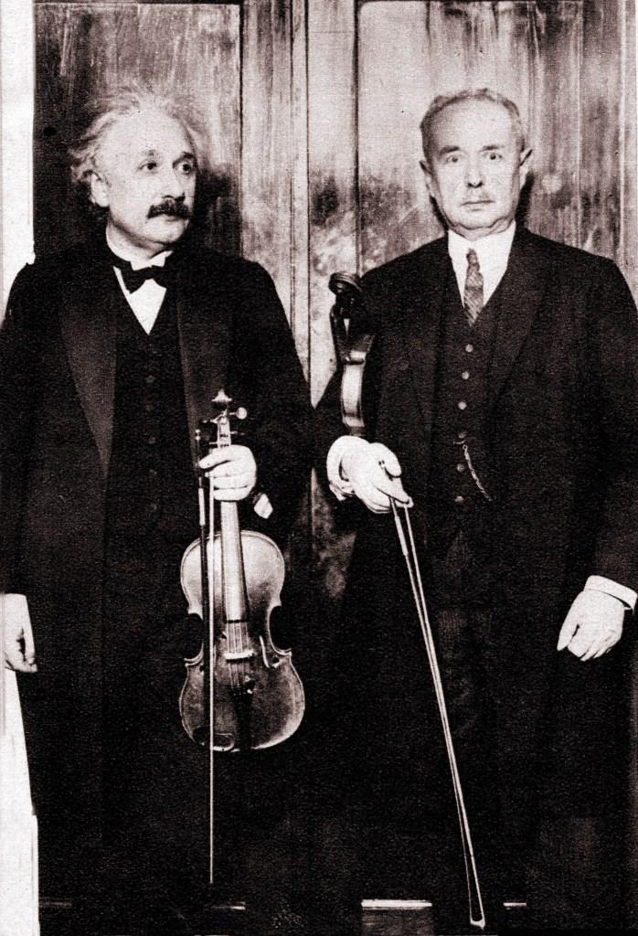 Einstein with his violin teacher 1930