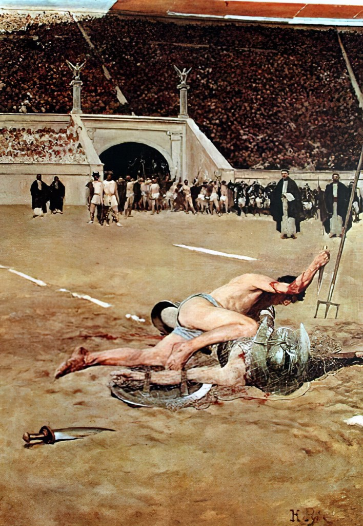 """""""Roman gladiators"""" by American illustrator Howard Pyle depicts a retiarius snaring his opponent with a weighted net in a Roman gladiatorial contest."""