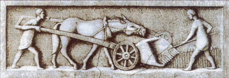 A gallic-roman harvester. Relief from Trier