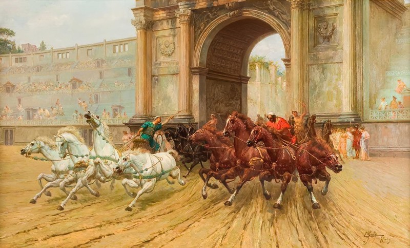 Racing Chariots Entering The Circus Maximus by Ettore Forti