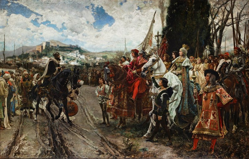 The Capitulation of Granada by Francisco Pradilla Ortiz, 1882: Muhammad XII surrenders to Ferdinand and Isabella