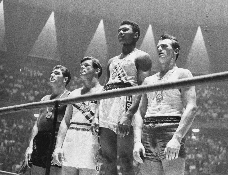 Ali on the Podium at the 1960 olympics