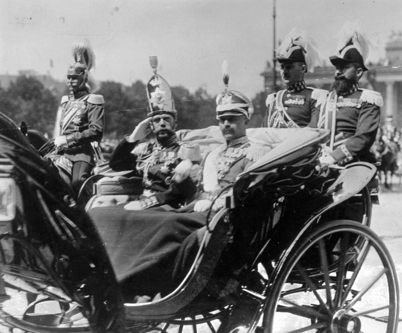 Cousins Tsar Nicholas II and Kaiser Wilhelm II together 1913.