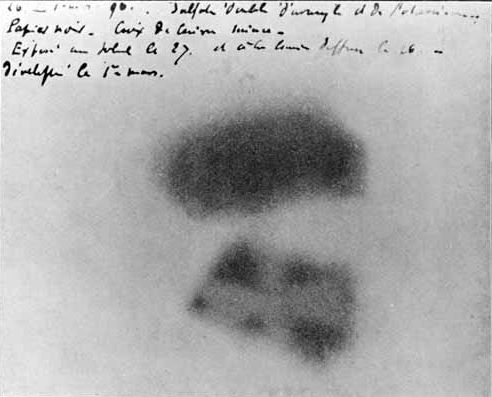 Photographic plate made by Henri Becquerel showing effects of exposure to radioactivity.