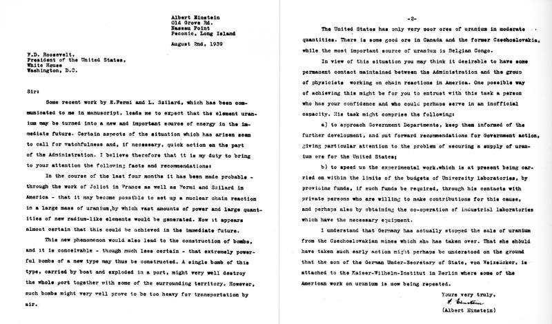 Einstein - Roosevelt Letter
