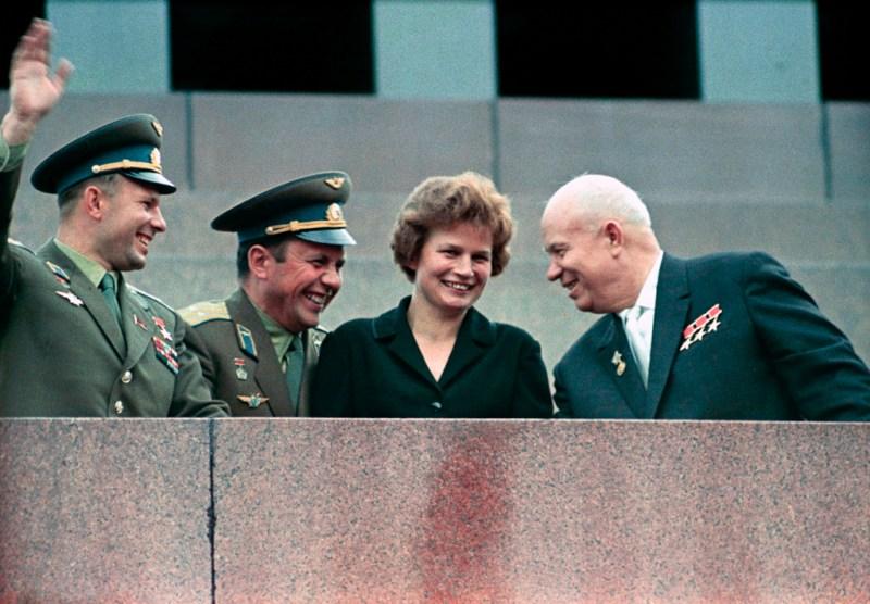 Nikita Khrushchev, Valentina Tereshkova, Pavel Popovich and Yury Gagarin at Lenin Mausoleum.